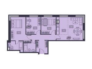 Планировка 3-комнатной квартиры в Талисман на Дмитровском